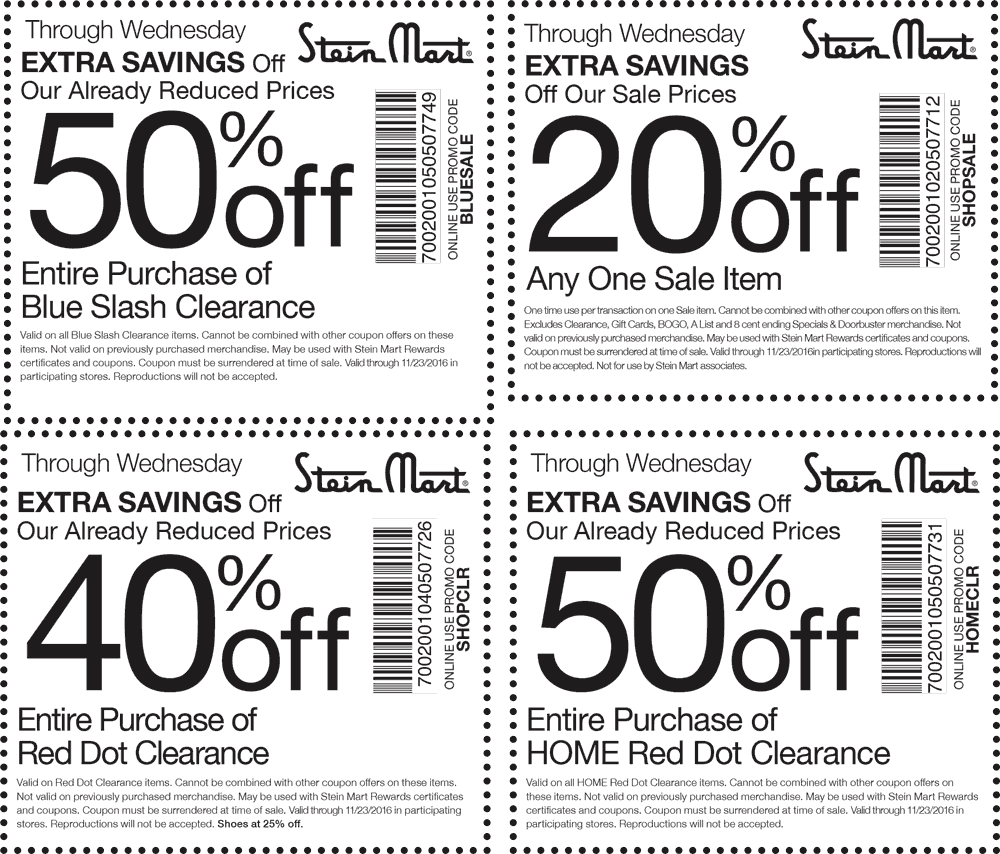 SteinMart.com Promo Coupon 20-50% off at Stein Mart, or online via promo code SHOPSALE