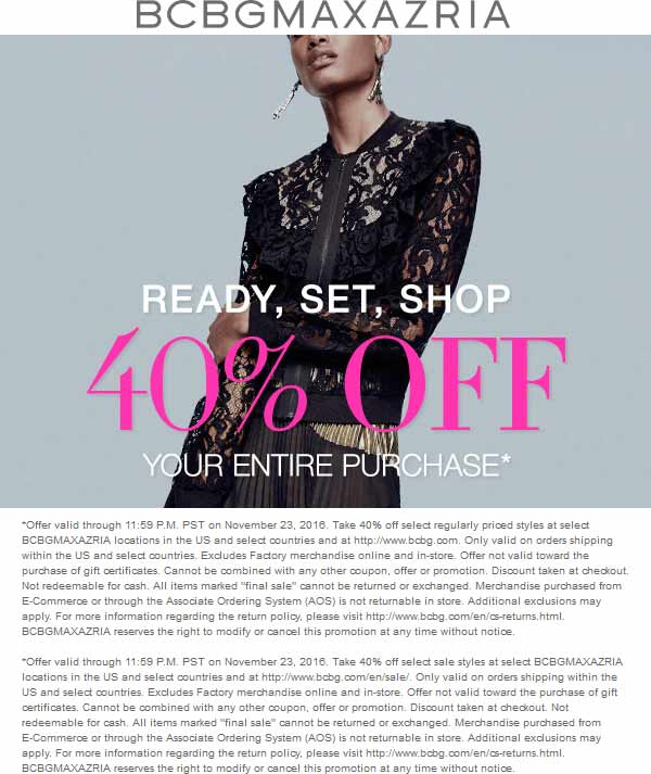 BCBG.com Promo Coupon 40% off today at BCBGMAXAZRIA, ditto online