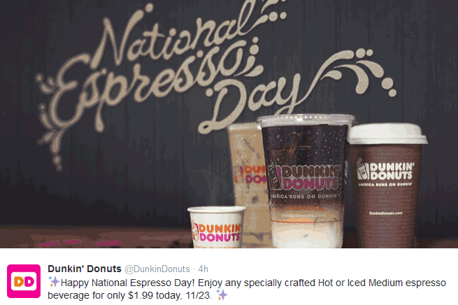DunkinDonuts.com Promo Coupon $2 medium espresso drinks today at Dunkin Donuts