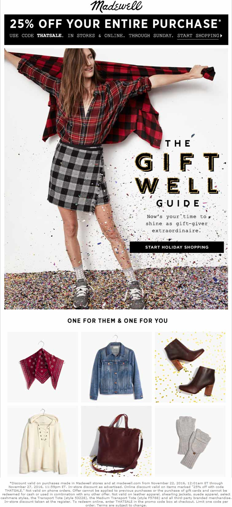 Madewell.com Promo Coupon 25% off at Madewell, or online via promo code THATSALE