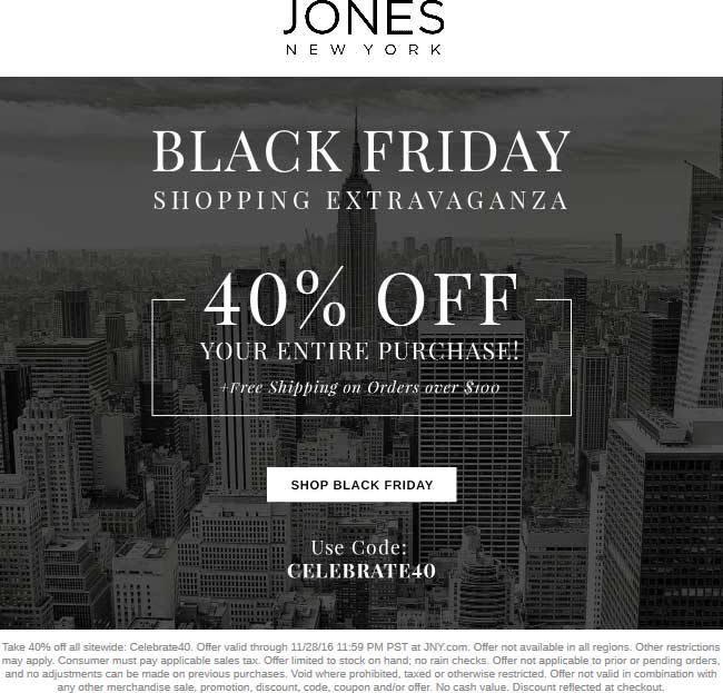 JonesNewYork.com Promo Coupon 40% off online at Jones New York via promo code CELEBRATE40