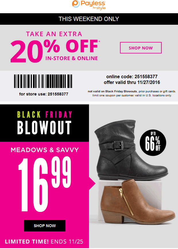 PaylessShoesource.com Promo Coupon Extra 20% off at Payless Shoesource, or online via promo code 251558377