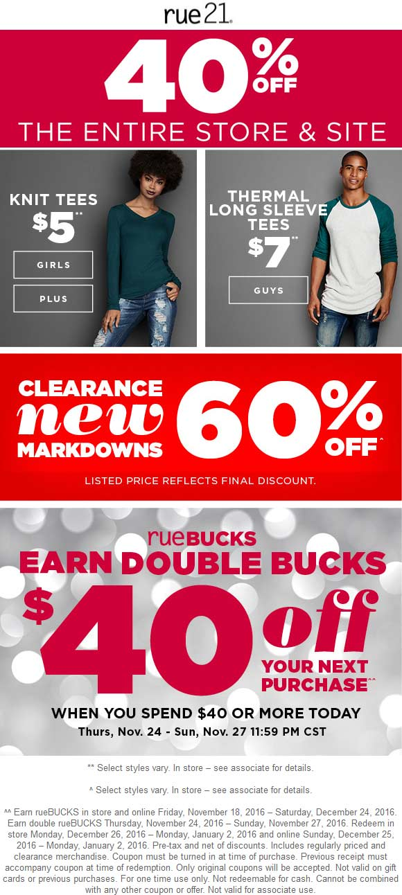 Rue21.com Promo Coupon 40% off everything + $40 store bucks on $40 spent + 60% off clearance at rue21, ditto online