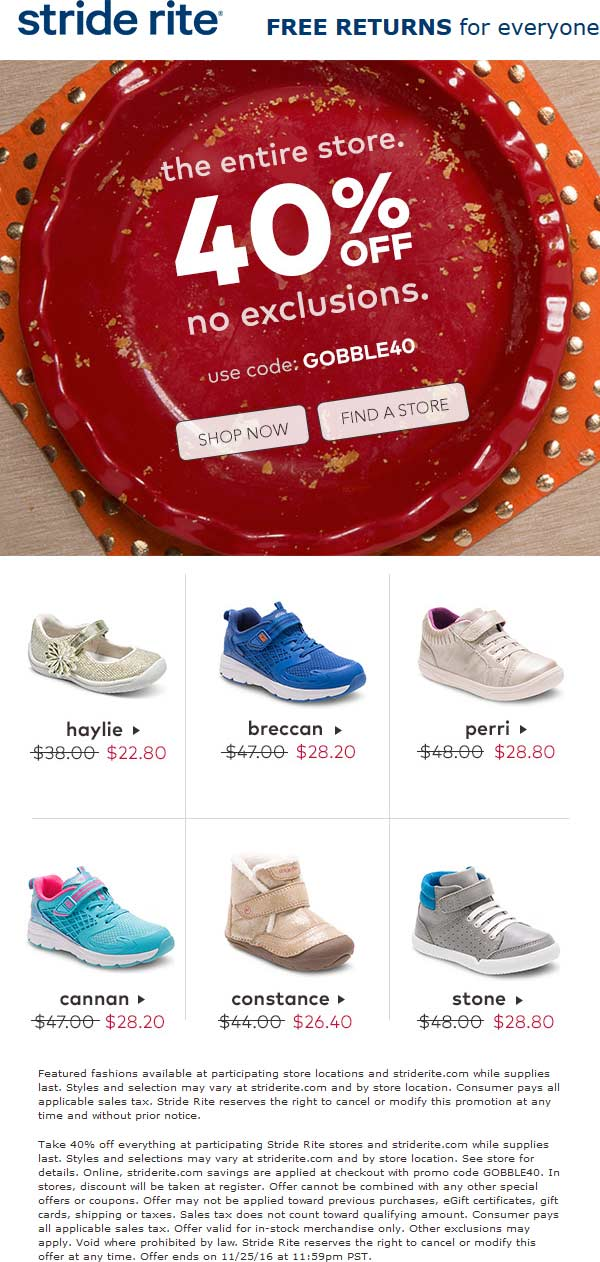 Stride Rite Coupon January 2019 40% off everything at Stride Rite, or online via promo code GOBBLE40