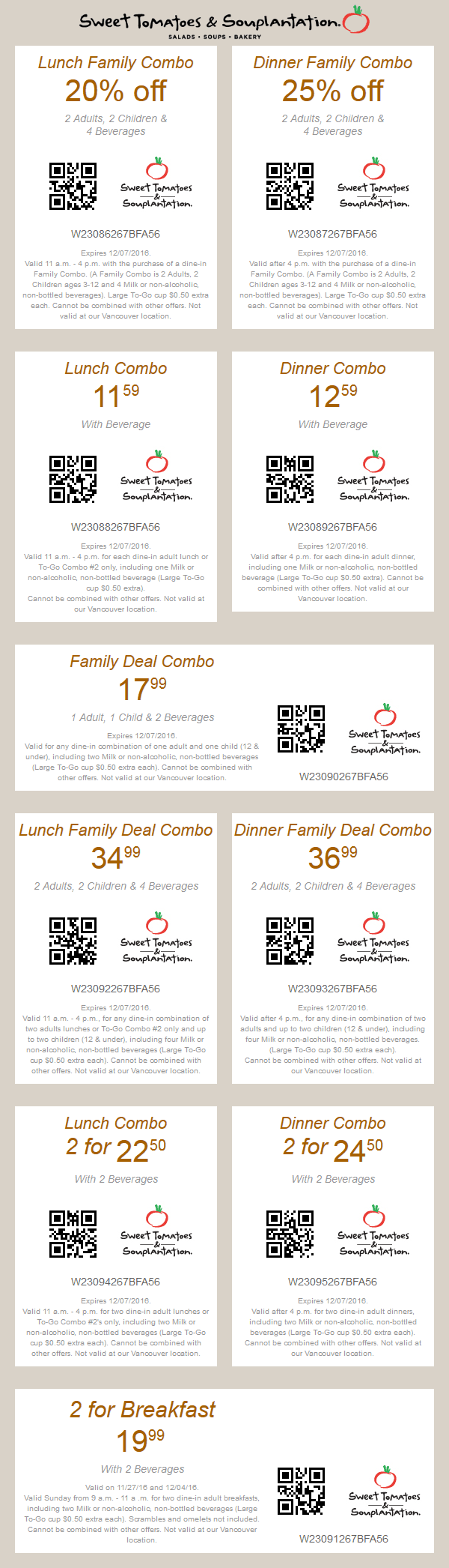 SweetTomatoes.com Promo Coupon 20% off lunch, 25% off dinner & more at Sweet Tomatoes & Souplantation