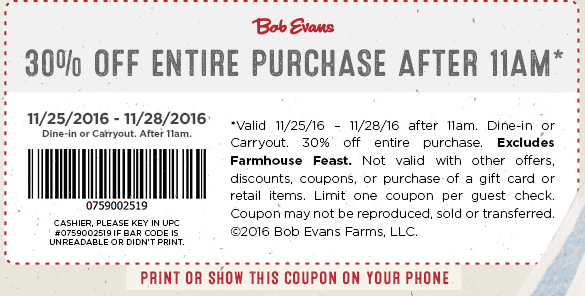 Bob evans coupons codes