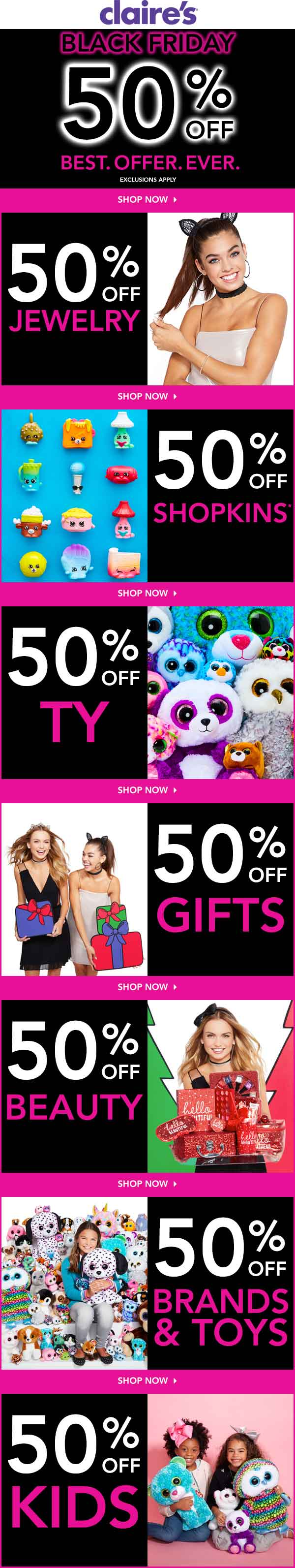 Claires.com Promo Coupon Everything is 50% off online today at Claires