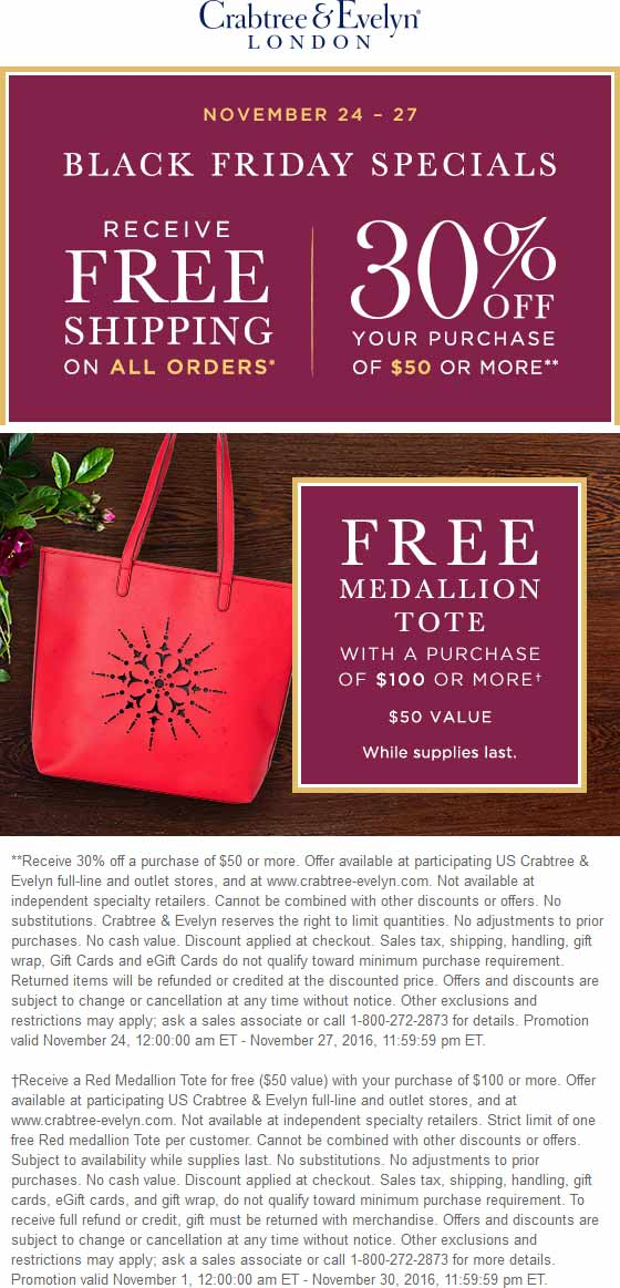 Crabtree&Evelyn.com Promo Coupon 30% off $50 also $50 tote free with $100 spent at Crabtree & Evelyn, ditto online