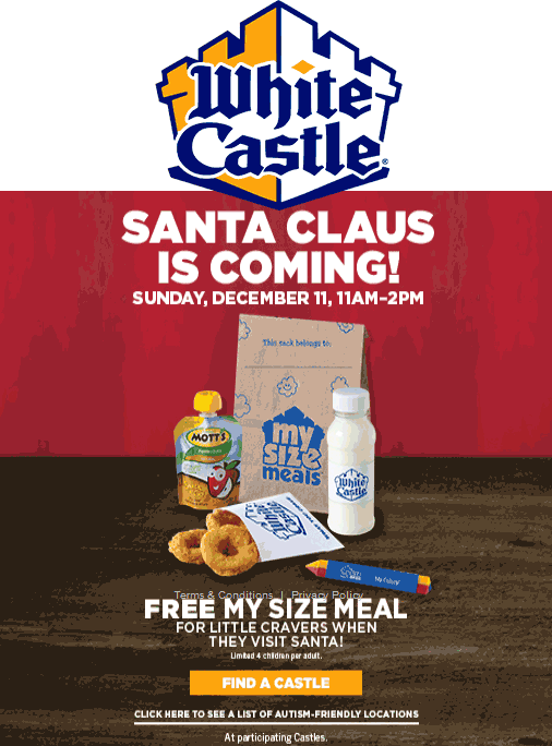 WhiteCastle.com Promo Coupon 4 free kids meals the 11th at White Castle