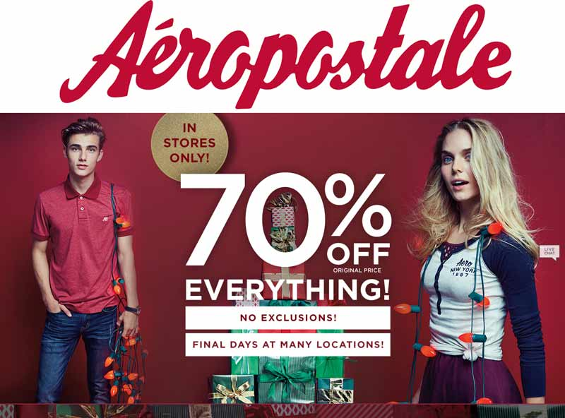Aeropostale.com Promo Coupon 70% off everything today at Aeropostale