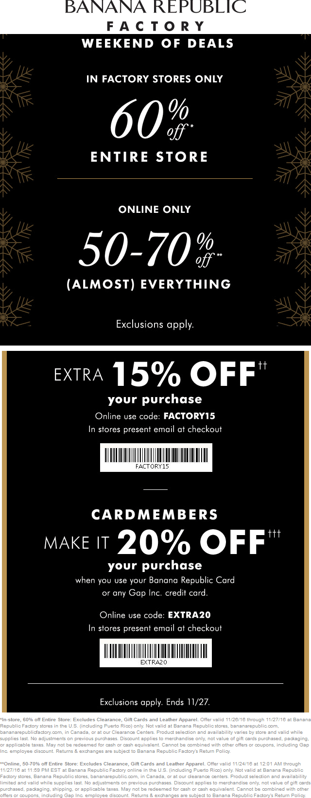 BananaRepublicFactory.com Promo Coupon Extra 60% off everything & more at Banana Republic Factory, 50-70% online