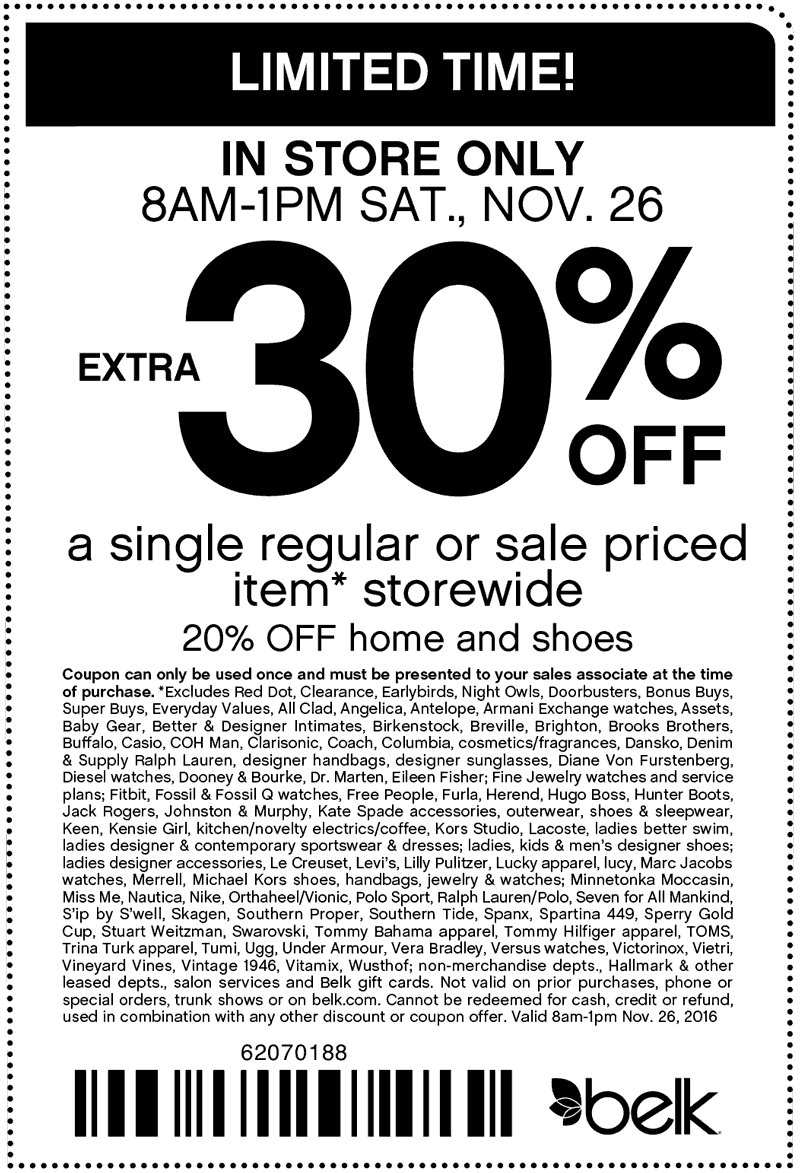 Belk.com Promo Coupon Extra 30% off a single item til 1pm at Belk