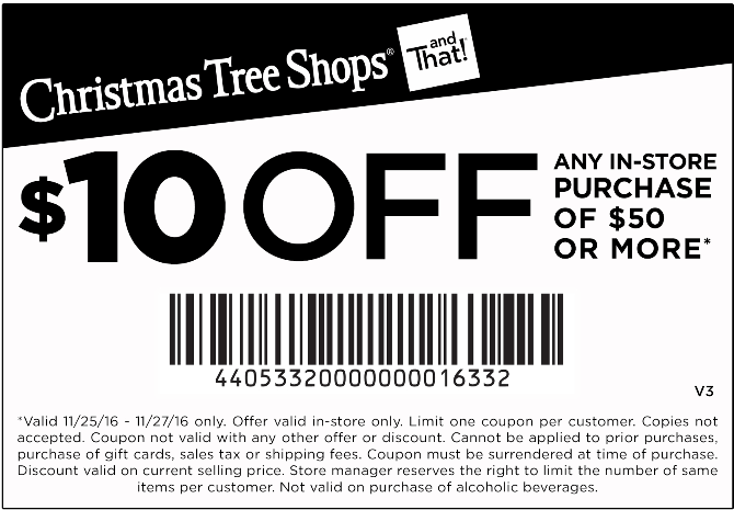 ChristmasTreeShops.com Promo Coupon $10 off $50 at Christmas Tree Shops