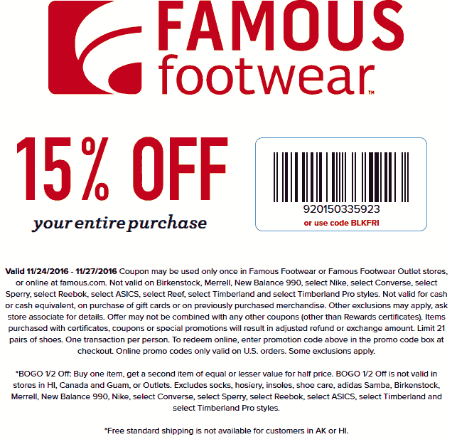 FamousFootwear.com Promo Coupon 15% off at Famous Footwear, or online via promo code BLKFRI