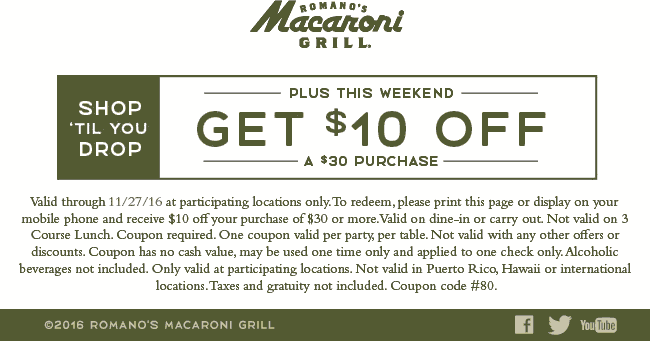Macaroni Grill Coupon December 2018 $10 off $30 at Macaroni Grill restaurants
