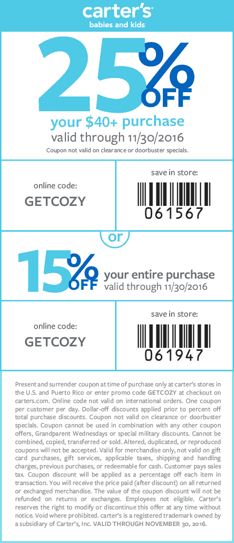 Carters.com Promo Coupon 15-25% off at Carters, or online via promo code GETCOZY