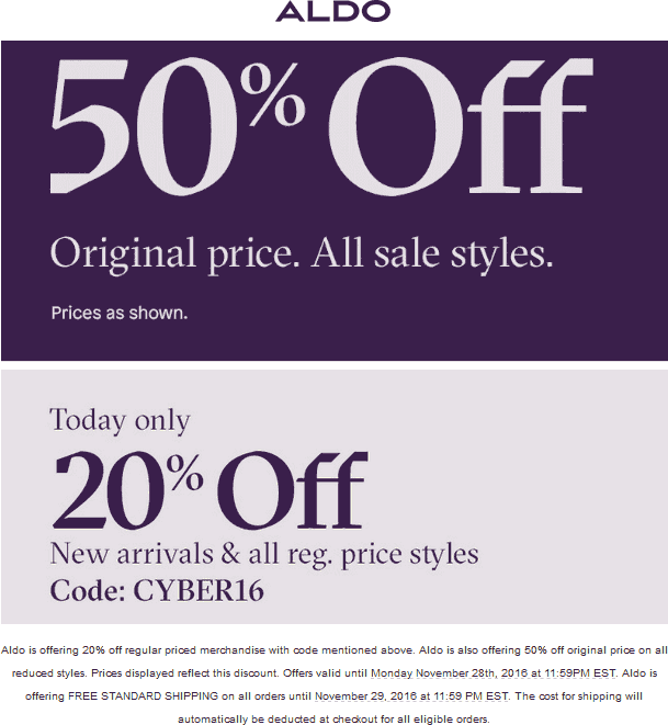 Aldo.com Promo Coupon 20% off regular + 50% off sale items online at ALDO via promo code CYBER16