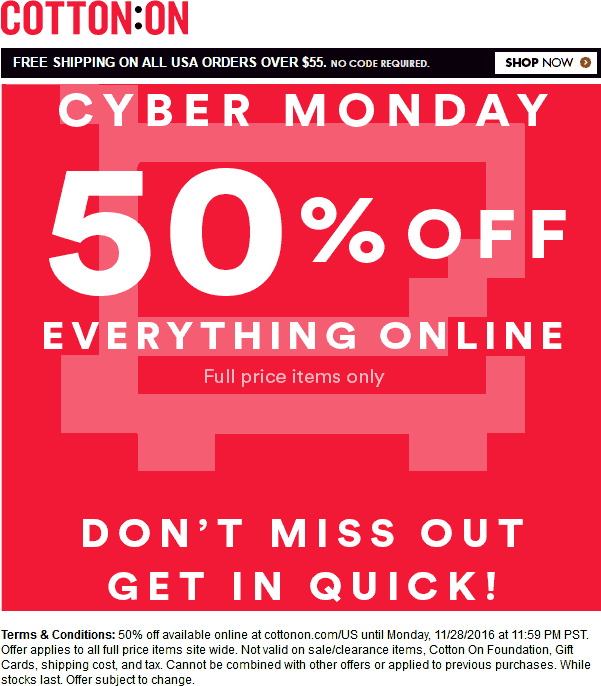 CottonOn.com Promo Coupon 50% off everything online today at Cotton On