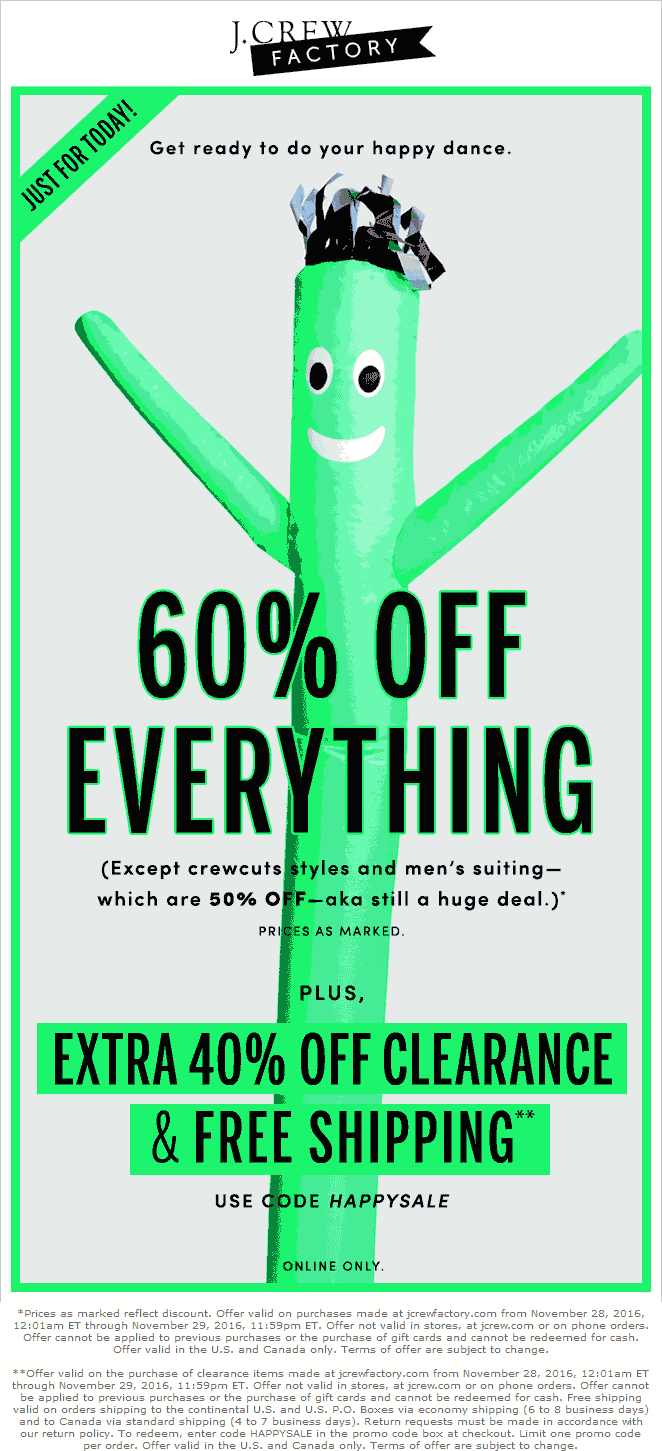J.CrewFactory.com Promo Coupon 60% off everything online at J.Crew Factory
