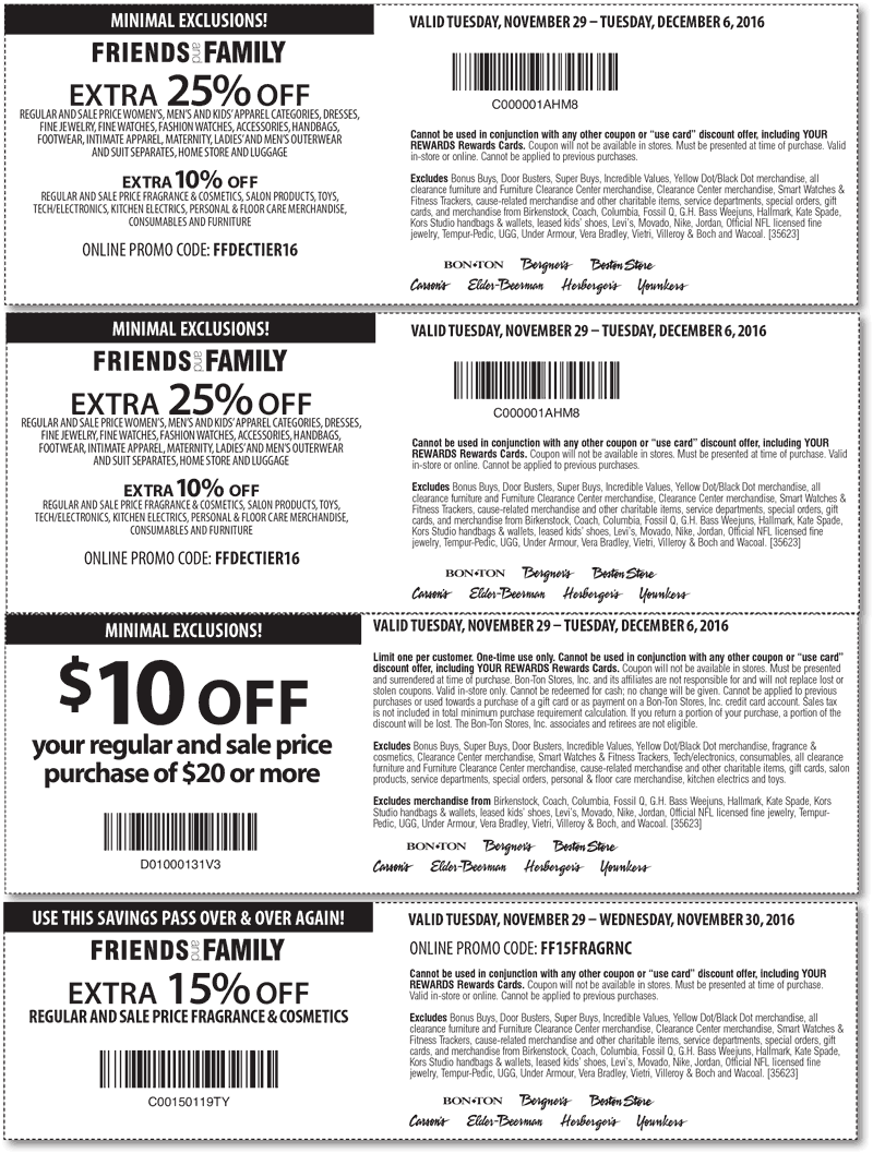 Carsons.com Promo Coupon $10 off $20 & 25% off at Carsons, Bon Ton & sister stores, or online via promo code FFDECTIER16