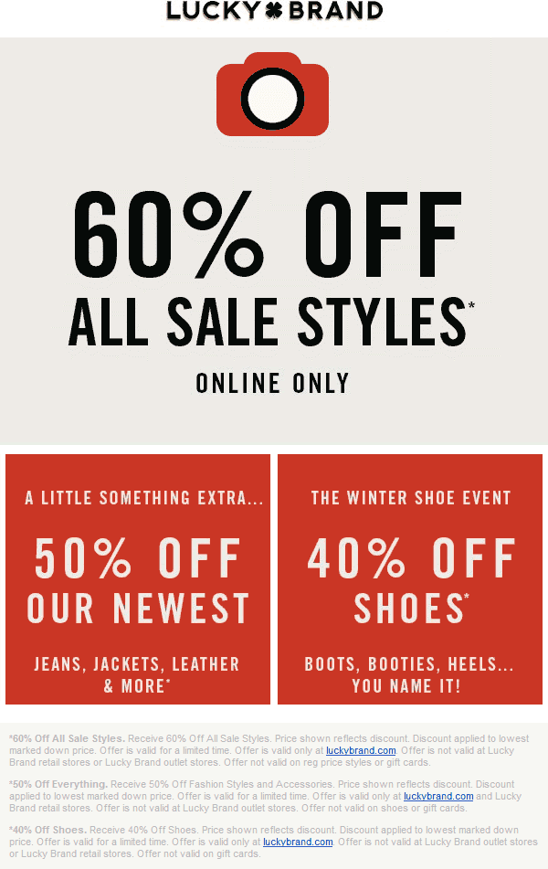 LuckyBrand.com Promo Coupon 60% off sale items online at Lucky Brand