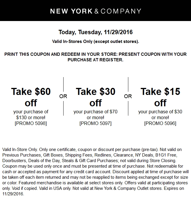 NewYork&Company.com Promo Coupon $15 off $30 & more today at New York & Company, or online via promo code 5096