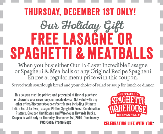 SpaghettiWarehouse.com Promo Coupon Second lasagna or spaghetti free Thursday at Spaghetti Warehouse
