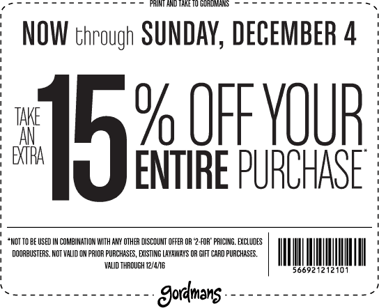 Gordmans.com Promo Coupon Extra 15% off everything at Gordmans