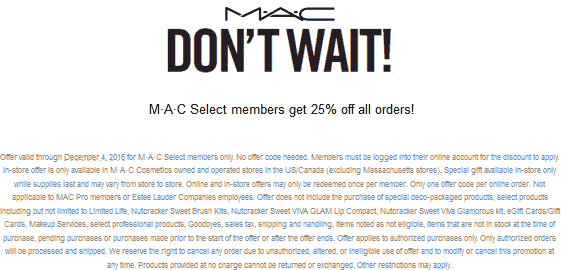 M·A·CCosmetics.com Promo Coupon 25% off everything for free members at M·A·C Cosmetics, ditto online