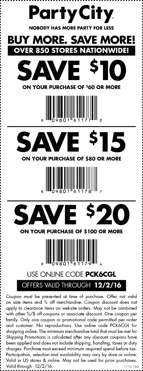 PartyCity.com Promo Coupon $10 off $60 & more at Party City, or online via promo code PCK6CGL