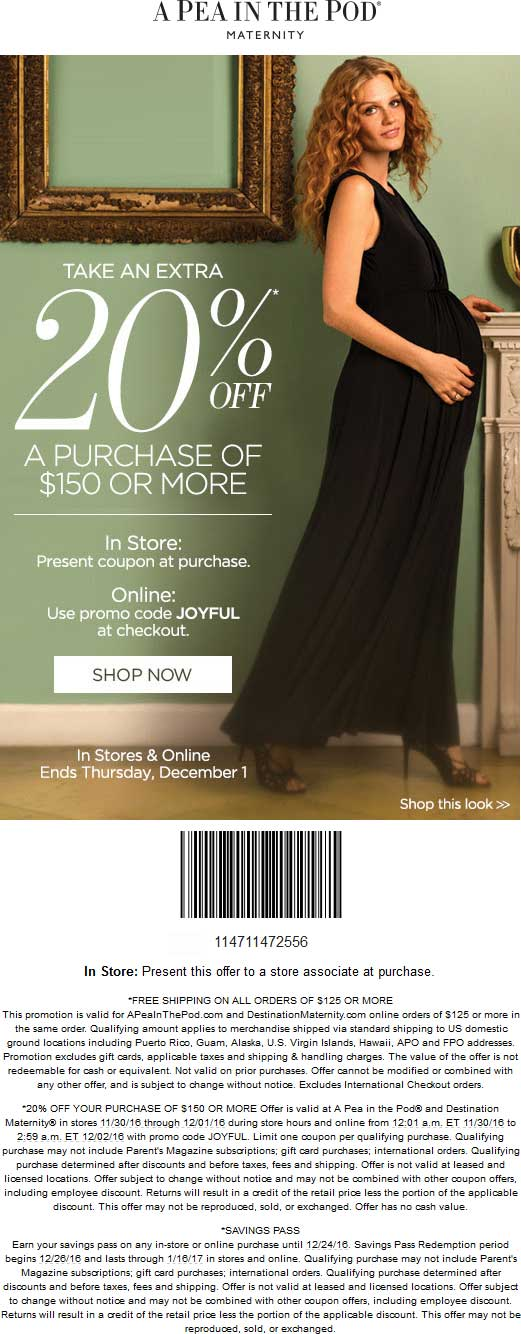 APeainthePod.com Promo Coupon 20% off $150 at A Pea in the Pod & Destination Maternity, or online via promo code JOYFUL