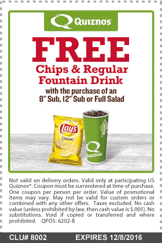 Quiznos.com Promo Coupon Chips & drink free with your sub or salad at Quiznos