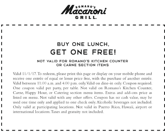 Macaroni Grill Coupon August 2018 Second lunch free today at Macaroni Grill