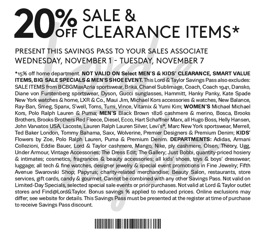 Lord & Taylor Coupon March 2019 Extra 20% off sale items at Lord & Taylor, or online via promo code BIG