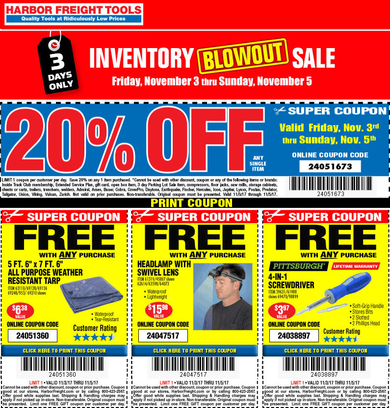 Harbor Freight Tools Coupon October 2018 Free stuff + 20% off a single item at Harbor Freight Tools, or online via promo code 24051673