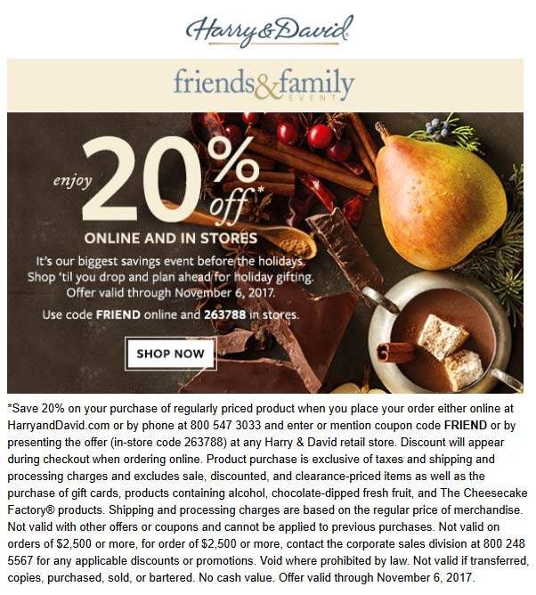 Harry & David Coupon October 2018 20% off at Harry & David, or online via promo code FRIEND