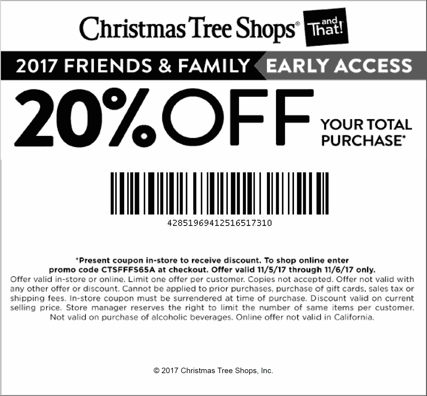 Christmas Tree Shops Coupons 20 Off At Christmas Tree Shops Or