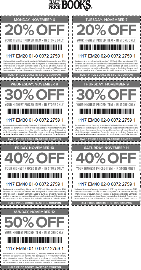 Half Price Books Coupon May 2019 20-50% off a single item at Half Price Books