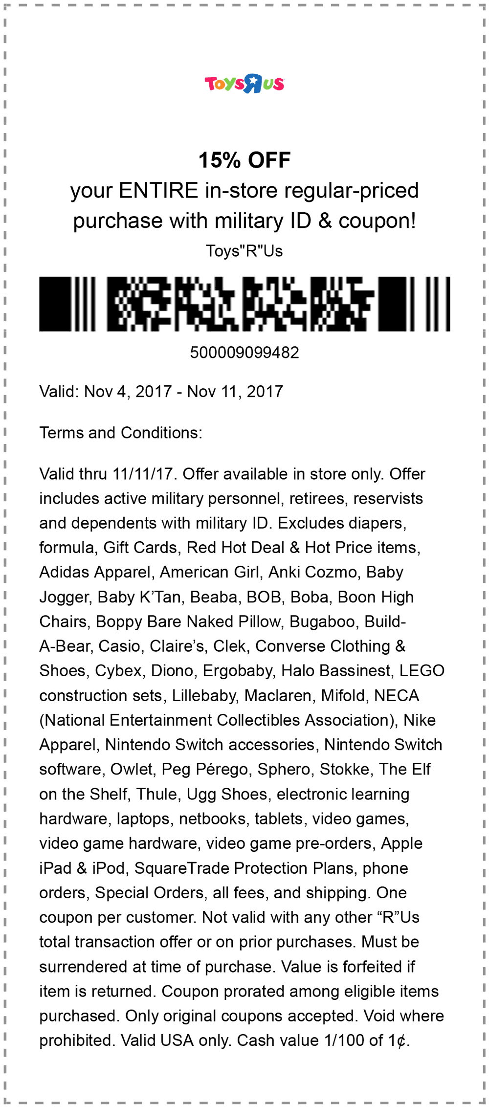 Toys R Us Coupon October 2018 Military ID gets you 15% off at Toys R Us