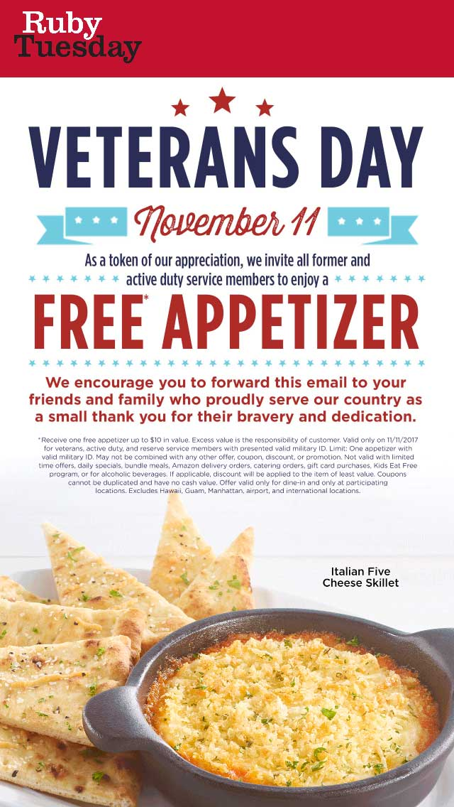 RubyTuesday.com Promo Coupon Veterans enjoy a free appetizer Saturday at Ruby Tuesday
