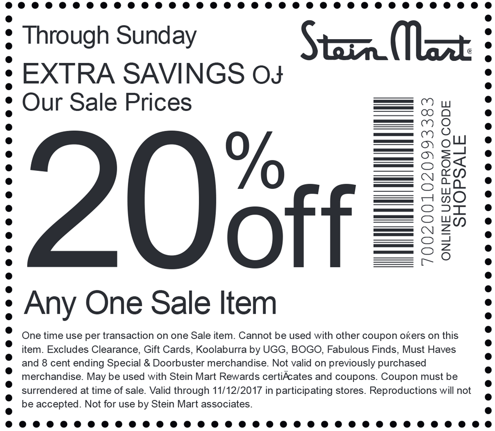 SteinMart.com Promo Coupon 20% off a single sale item at Stein Mart, or online via promo code SHOPSALE
