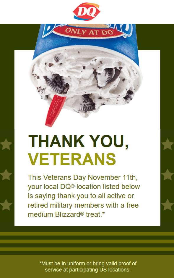 Dairy Queen Coupon March 2019 Military enjoy a free blizzard Saturday at Dairy Queen