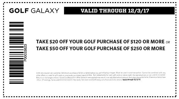 GolfGalaxy.com Promo Coupon $20 off $120 & more at Golf Galaxy