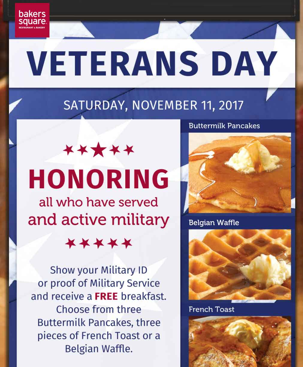 BakersSquare.com Promo Coupon Military ID gets you a free breakfast Saturday at Bakers Square