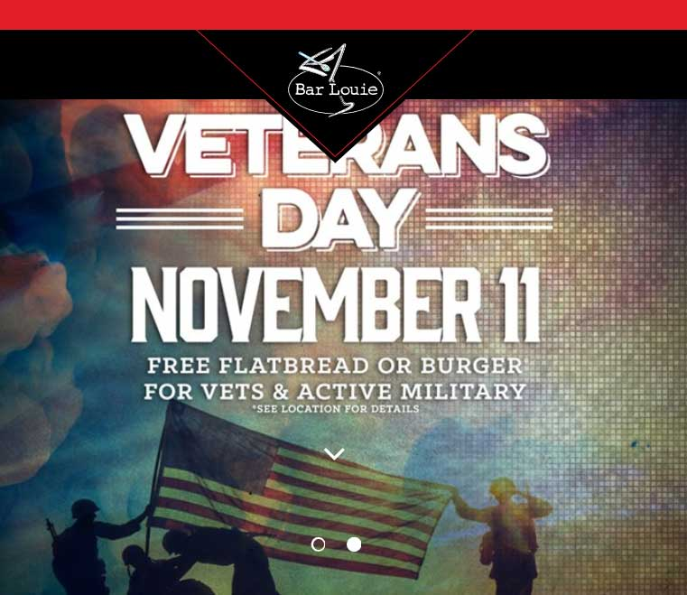 Bar Louie Coupon December 2018 Free burger or flatbread for military Saturday at Bar Louie