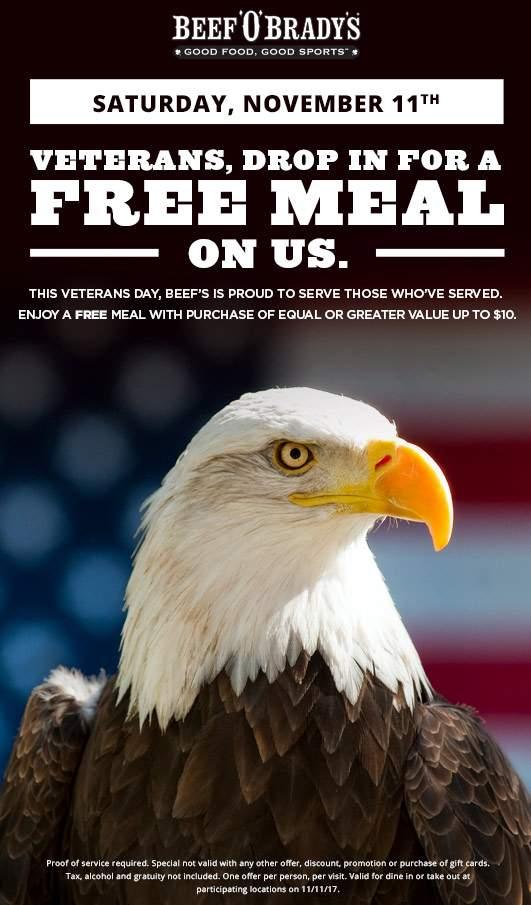 BeefOBradys.com Promo Coupon Veterans enjoy a free meal Saturday at Beef OBradys