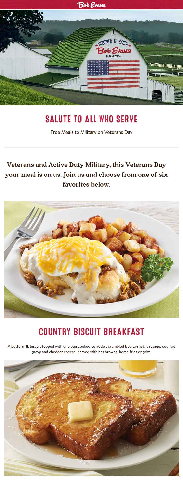 BobEvans.com Promo Coupon Free meals for military Saturday at Bob Evans restaurants
