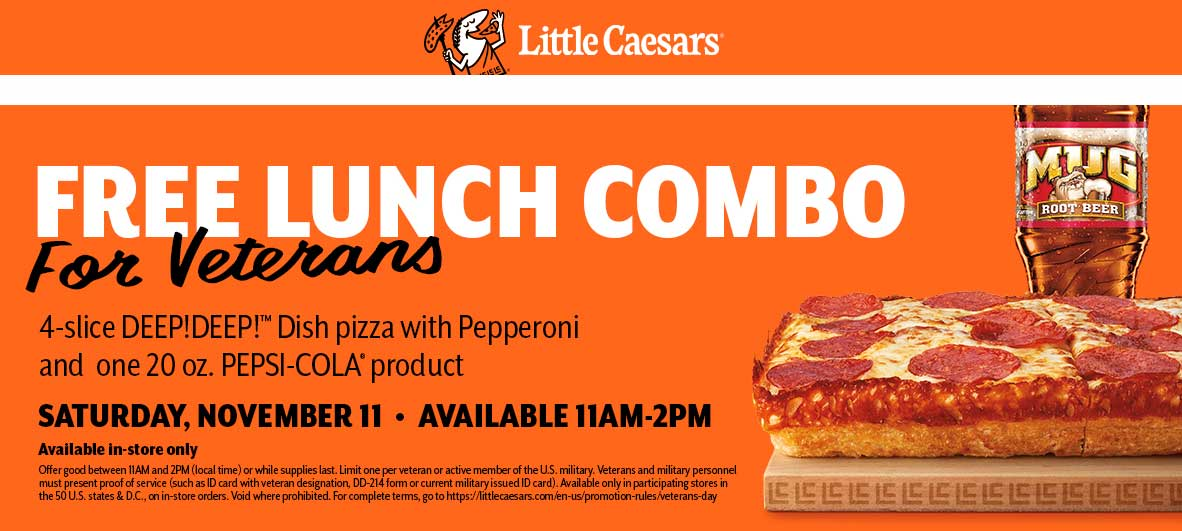 Little Caesars Coupon October 2018 Free lunch combo meal for veterans Saturday at Little Caesars pizza
