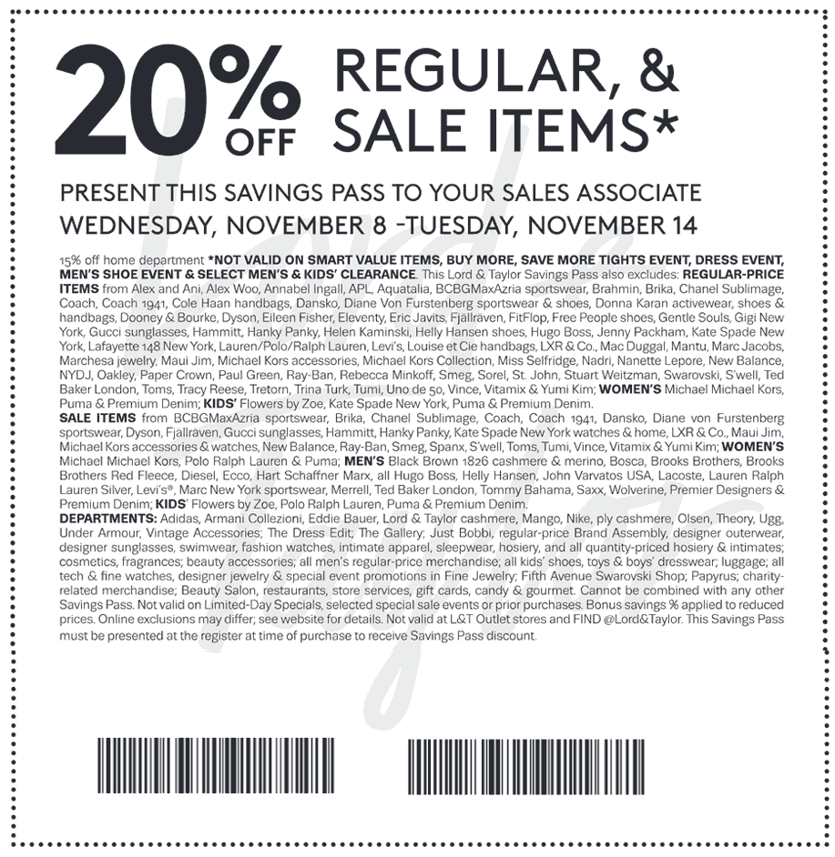 Lord&Taylor.com Promo Coupon 20% off at Lord & Taylor, or online via promo code VETERAN