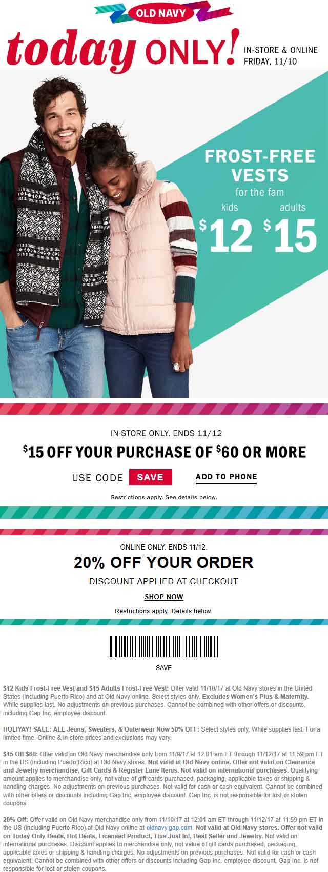 Old Navy Coupon December 2017 $15 Off $60 at Old Navy, or 20% online no code needed
